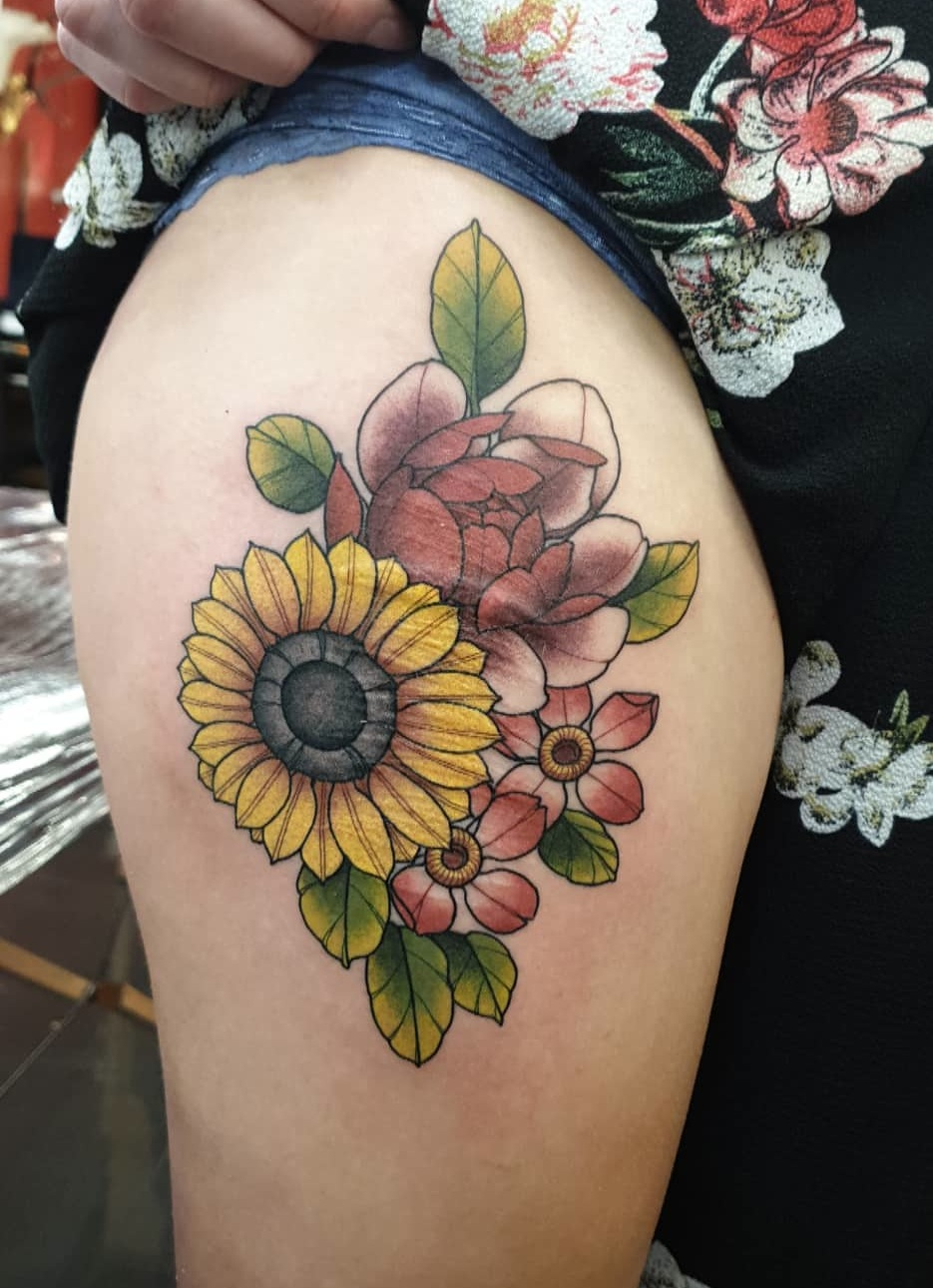 Neo Traditional Flower Tattoos Best Tattoo Ideas